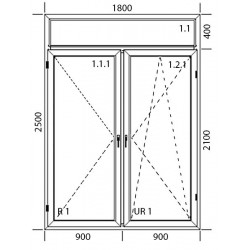 Drzwi balkonowe  PCV 1800 x 2500
