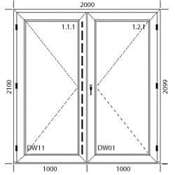 Drzwi wejściowe  PCV  2000 x 2100