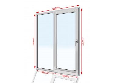Drzwi balkonowe przesuwne  PCV  1800 x  2200