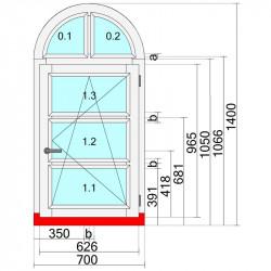 Okno drewniane 700 x 1400 mm