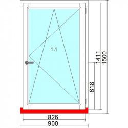 Okno drewniane 900 x 1500 mm