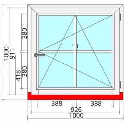 Okno drewniane 1000 x 1000 mm