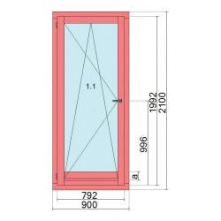 Okno drewniane z nakładką 900 x 2100