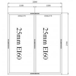 Ścianka Stała Aluminiowa PPOŻ 2200 x 2500