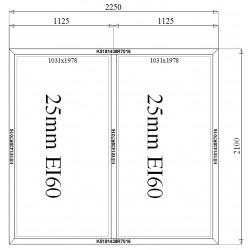 Ścianka Stała Aluminiowa PPOŻ 2250 x 2100