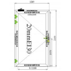 Drzwi Aluminiowe PPOŻ 1285 x 2100