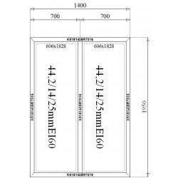 Ścianka Stała Aluminiowa PPOŻ 1400 x 1950