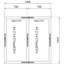 Ścianka Stała Aluminiowa PPOŻ 1400 x 1400