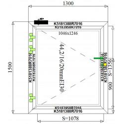 Okno Techniczne Aluminiowe PPOŻ 1300 x 1500