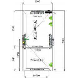 Drzwi Aluminiowe PPOŻ 1000 x 2000