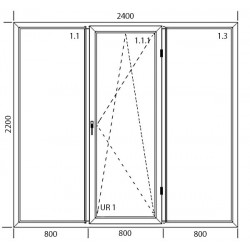Drzwi balkonowe PCV 2400 x 2200