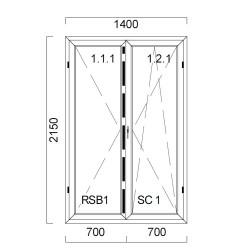 Okno PCV z nakładką Aluskin 1400 x 2150